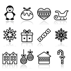 Christmas, winter icons with stroke - penguin, Christmas pudding