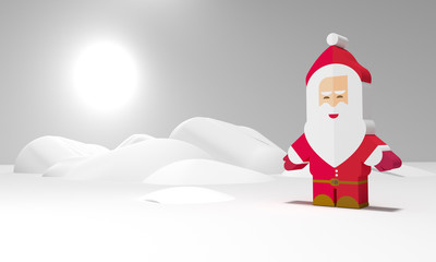 Modern 3D flat Christmas background with Santa Claus