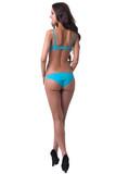Rear view of slim model in stylish blue underwear