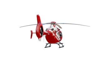 Red helicopter on white background