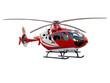 Leinwanddruck Bild - Red helicopter on white background