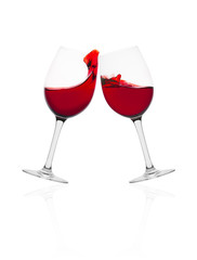 Wine glasses with splash of wine