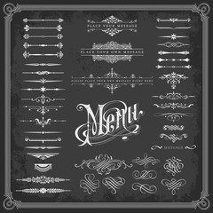large collection of calligraphic design elements