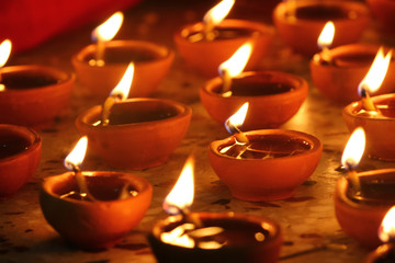 traditional diwali lamps