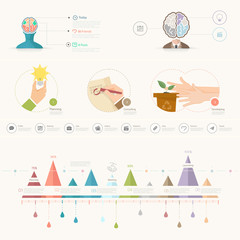 Set of infographics elements for slide presentation templates.