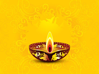 abstract artistic yellow diwali background