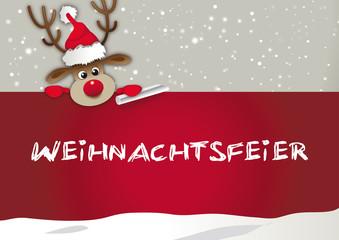 Einladung zur Weihnachtsfeier - Rentier mit Weihnachtsmütze