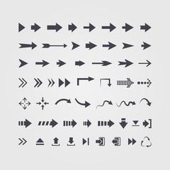 Vector set of different vector black arrows