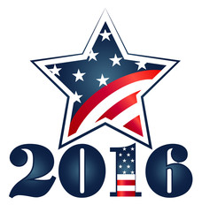 Election 2016 with USA Flag illustration. Vector logo