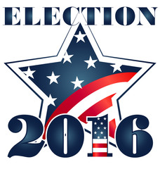 Election 2016 USA Flag illustration. Vector icon logo