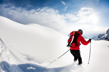Skiing: male skier in powder snow