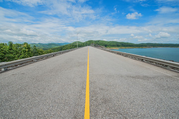 Road on the ridge of Si-ri-kit dam,Utaradit,Thaila nd