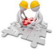Puzzle Teamwork Männchen mit Helm