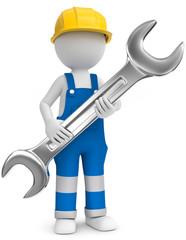 Handwerker mit Bauhelm und Maulschlüssel