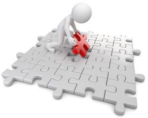 Männchen auf Puzzlefeld