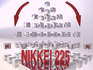 Nikkei 225 3D Recession Concept