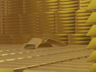 Gold Bar Pile 3D Concept