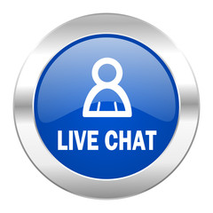 live chat blue circle chrome web icon isolated
