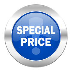 special price blue circle chrome web icon isolated