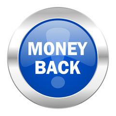 money back blue circle chrome web icon isolated