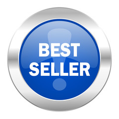 best seller blue circle chrome web icon isolated