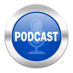 podcast blue circle chrome web icon isolated