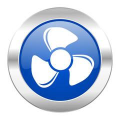 fan blue circle chrome web icon isolated