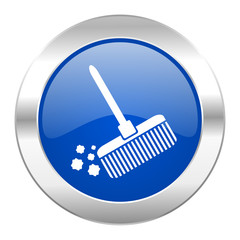 broom blue circle chrome web icon isolated