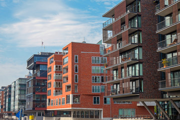 Modern buildings in the Hafencity in Hamburg
