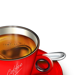 rote Tasse Kaffee mit Silberlöffel, freigestellt