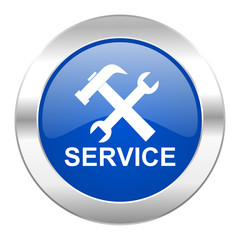 service blue circle chrome web icon isolated