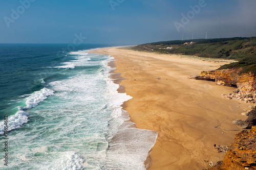 canvas print picture The beach north of Nazare in Portugal