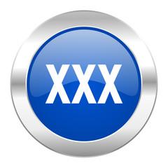 xxx blue circle chrome web icon isolated