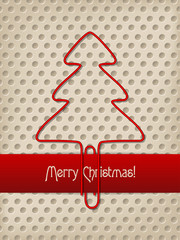 Christmas greeting with red ribbon and tree shaped paper clip