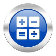 calculator blue circle chrome web icon isolated