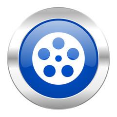 film blue circle chrome web icon isolated