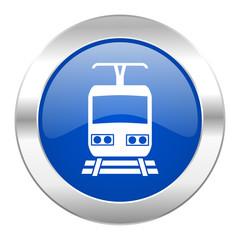 train blue circle chrome web icon isolated