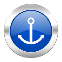 anchor blue circle chrome web icon isolated