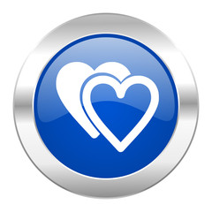 love blue circle chrome web icon isolated