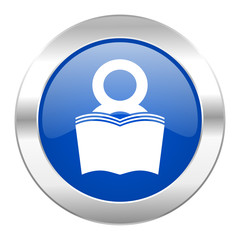 book blue circle chrome web icon isolated