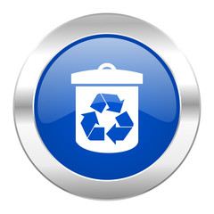 recycle blue circle chrome web icon isolated