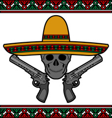 Skull with sombrero and pistols