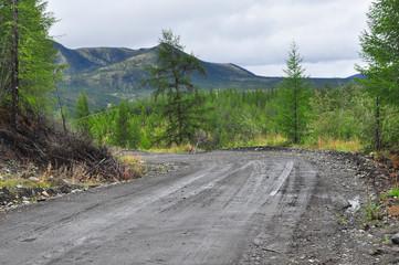 """Federal highway """"Kolyma"""", Yakutsk - Magadan, Yakutia."""