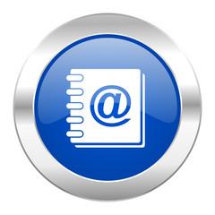 address book blue circle chrome web icon isolated