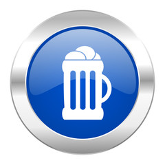 beer blue circle chrome web icon isolated