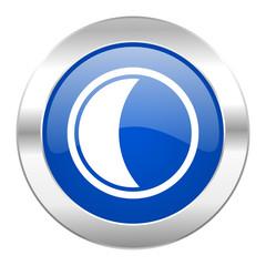 moon blue circle chrome web icon isolated