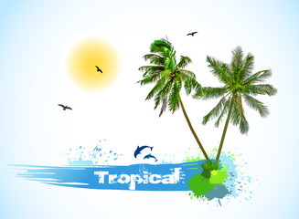Sea and coconut palms. Vector