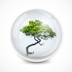 Tree in a bubble. Vector ecology illustration