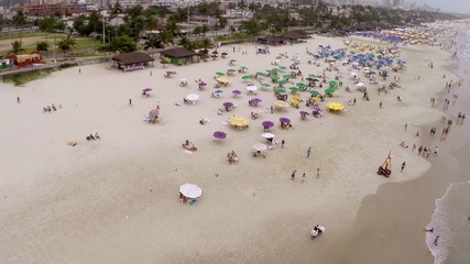 Aerial view of a beach on the summer