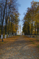 Russian Orthodox Cathedral and autumn alley